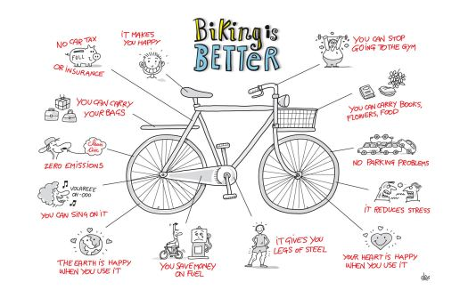 Illustration of 13 reasons to cycle